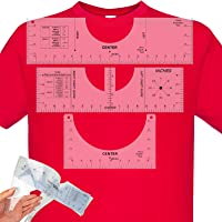 3Pcs T-Shirt Alignment Ruler, Tshirt Guide Ruler for Heat Press Vinyl, Shirt Placement Ruler for Men Women (10''5''&16…