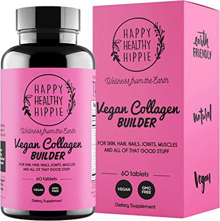 Vegan Collagen Builder – Glow Healthy, Grow Strong – 35 Powerful Plant Based Extracts Collagen, Keratin & Elastin Builder for Skin, Hair, Nails, Bones, Cartilage, Tendons – Non GMO – 60 Tablets