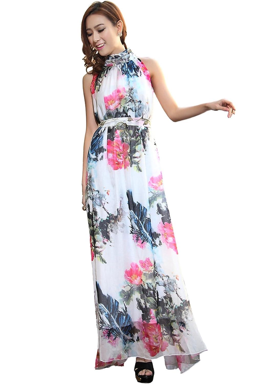Medeshe Women's Bohemian Style Chiffon Long Maxi Dress Summer Sundress for Holiday (Length: 145cm)