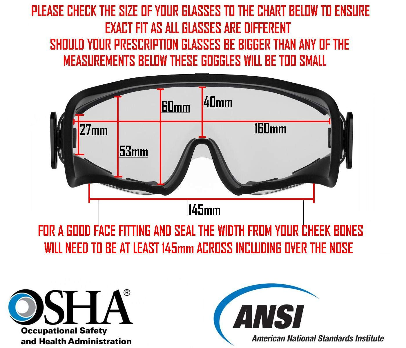 65b86aeb8f Safety Goggles Fits Over Prescription Glasses Clear Anti Fog Anti Scratch  Impact Splash Proof For Workplace - Chemistry Lab ANSI Z87.1 Approved Free  Safety ...