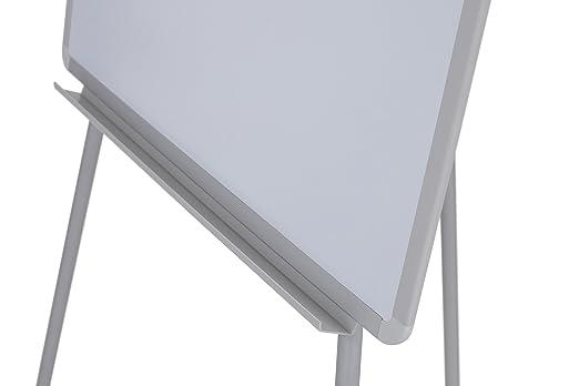 Clip Ajustable para Bloques y Brazos extensibles Pizarra Blanca Magnetica con Caballete de Tr/ípode Bi-Office Earth 70 x 100 cm Rotafolios con Marco Gris con Bandeja