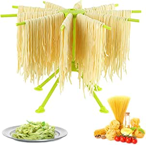 GOZIHA Pasta Drying Rack Noodle Stand with 10 Bar Handles Collapsible | Household Noodle Dryer Rack Hanging for Home Use | Spaghetti Drying Rack Noodle Stand | Easy Storage and Quick Set-Up (Green)