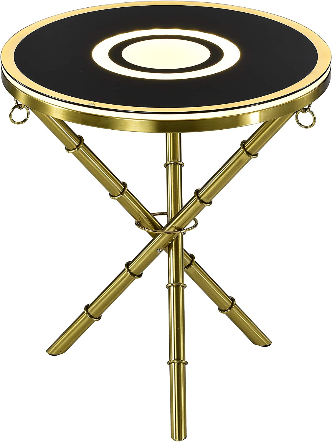 Warehouse of Tiffany Strick & Bolton Skylar Glass-top LED Bluetooth Accent Table, Gold, Black