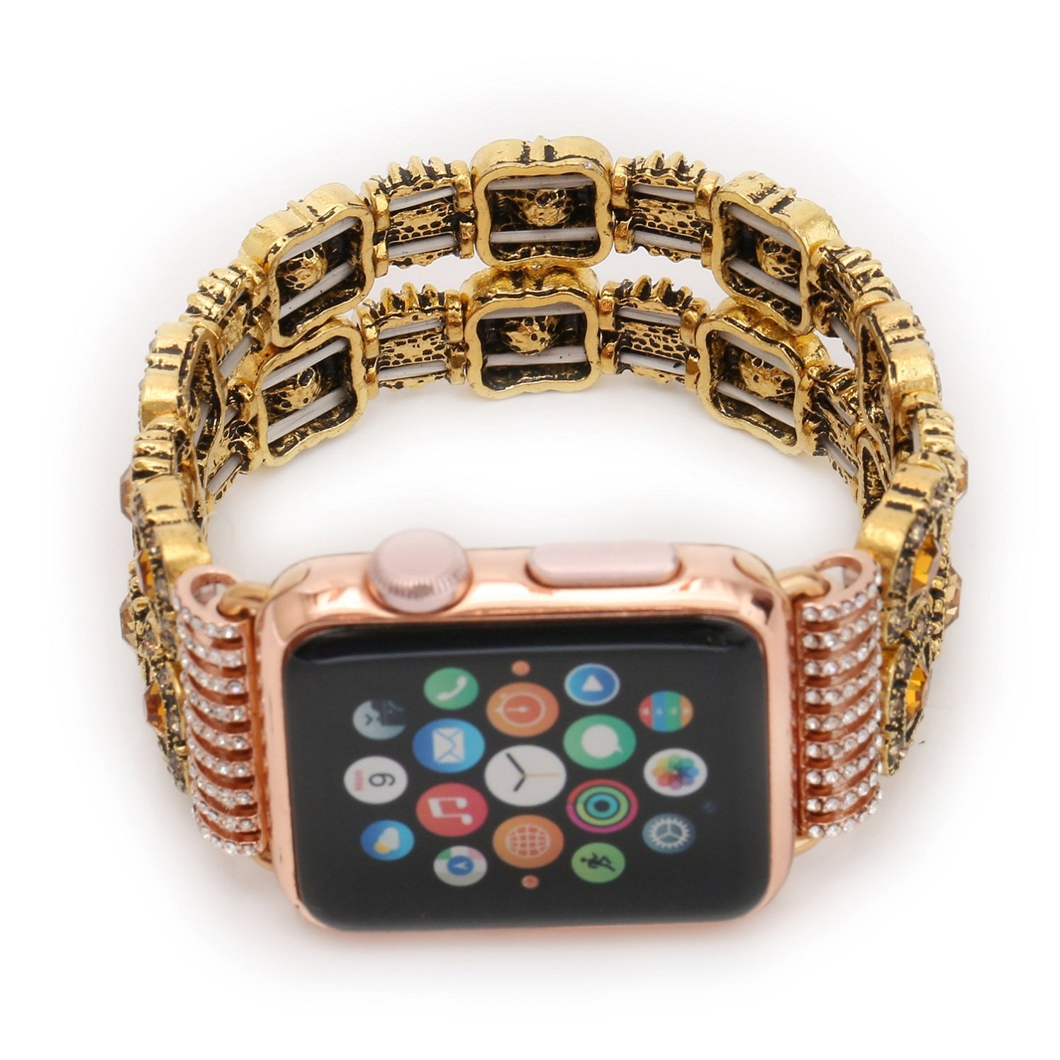 Juzzhou Band For Apple Watch iWatch Series 1/2/3 Sport Edition Style Elastic Stretch Woman Girl Bracelet Replacement Faux Pearl Jewels Wrist Strap Wriststrap With Stainless Steel Adapter Pink 38mm by Juzzhou (Image #2)