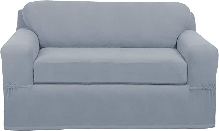 MAYTEX Pixel Ultra Soft Stretch Loveseat Couch Furniture Cover Slipcover, Steel Blue