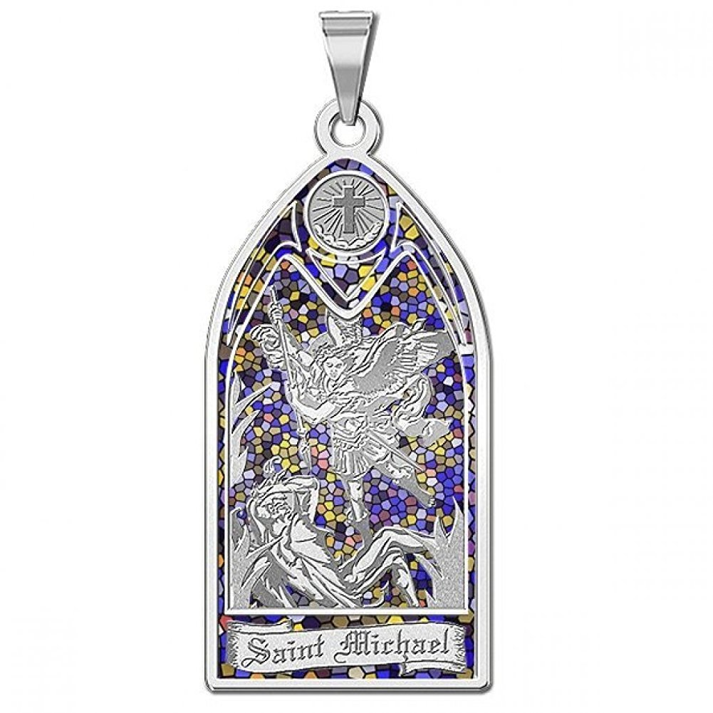 Saint Michael - Stained Glass Religious Medal - 2/3 Inch X 1-1/4 Inch - Sterling Silver