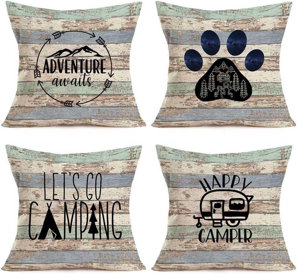 Gulidi Happy Camper Pillow Covers 18x18 Inch Set of 4 Camp Tent with Mountain Forest Camping Adventure Awaits Vintage Throw Pillow Case Decorative Cushion Cover with Wood Grain for RV Car Sofa