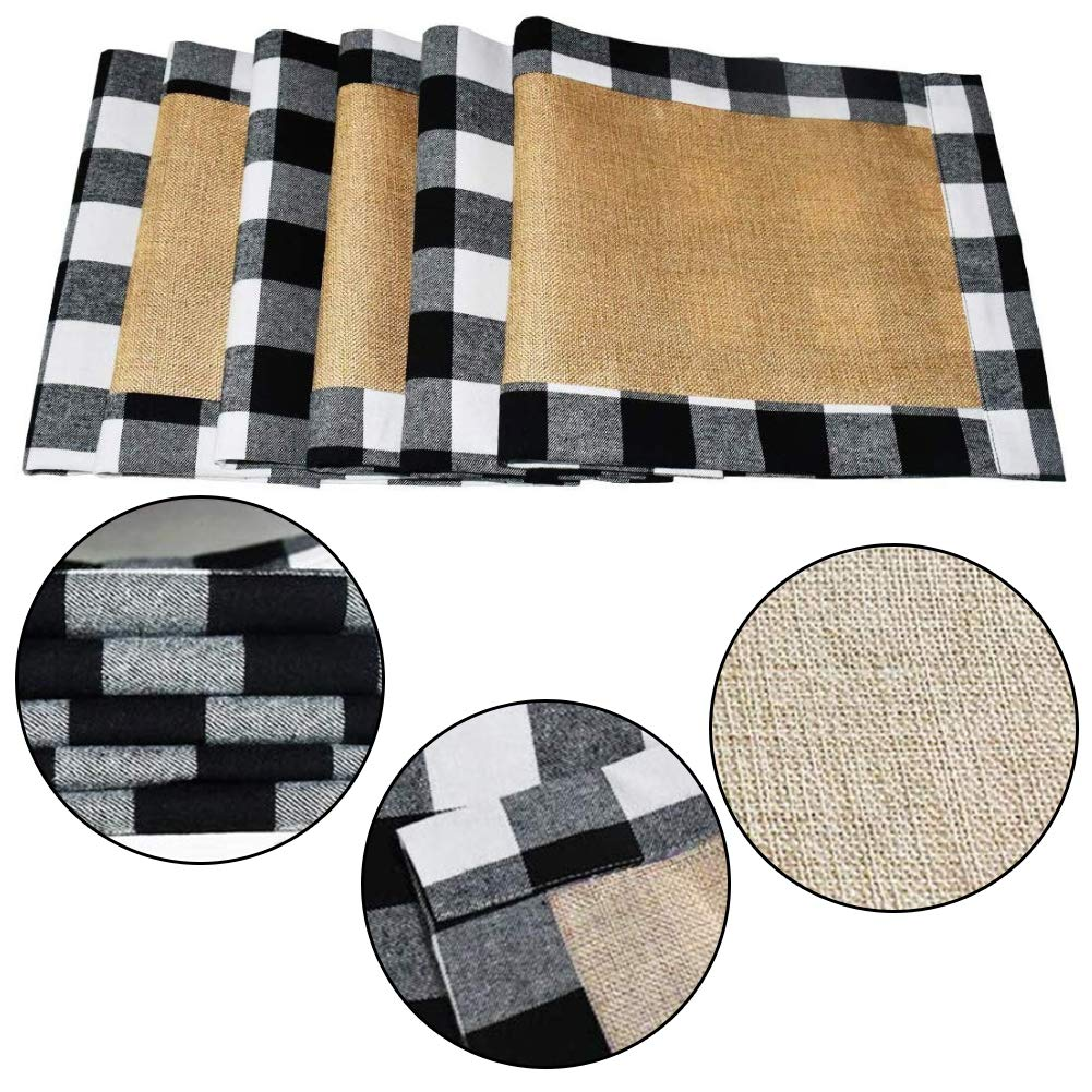 HAKACC 6 PCS Christmas Holiday Placemats Buffalo Plaid Placemats White Black Reversible Placemats for Christmas Holiday Birthday Party Table Home Decoration