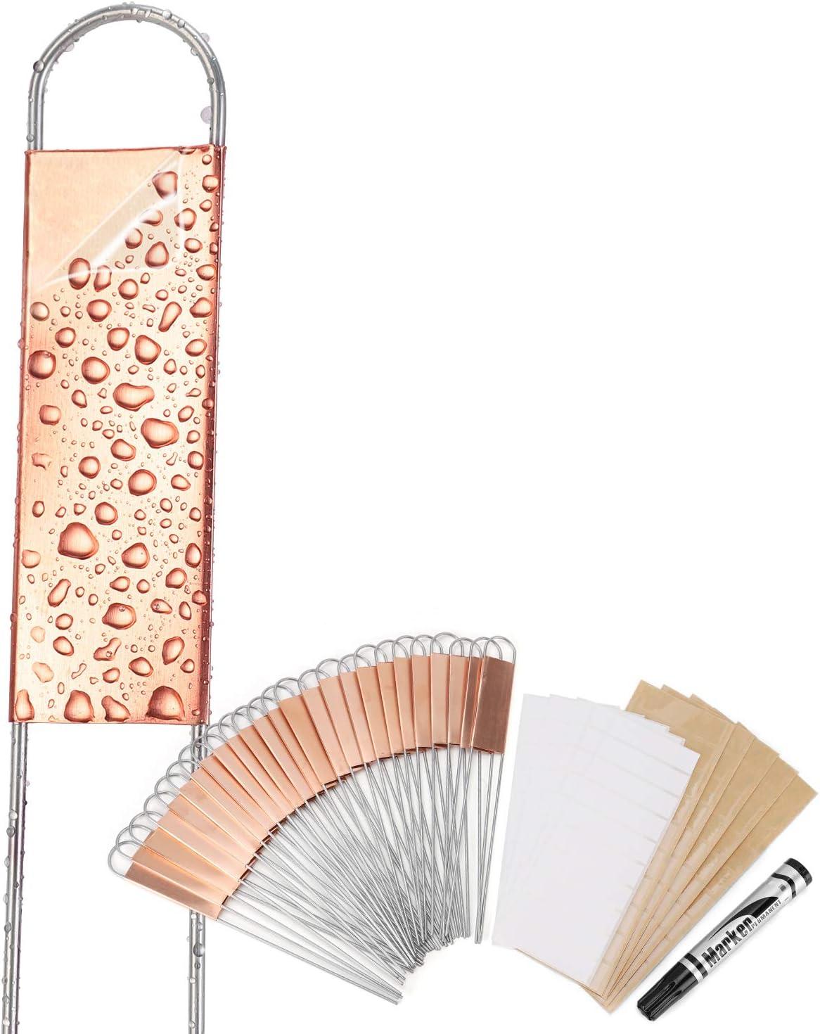 Wanapure 25PCS Copper Metal Plant Tags Plant Labels with 50Pcs Labels, Rainproof PET Film & Permanent Pen, 8