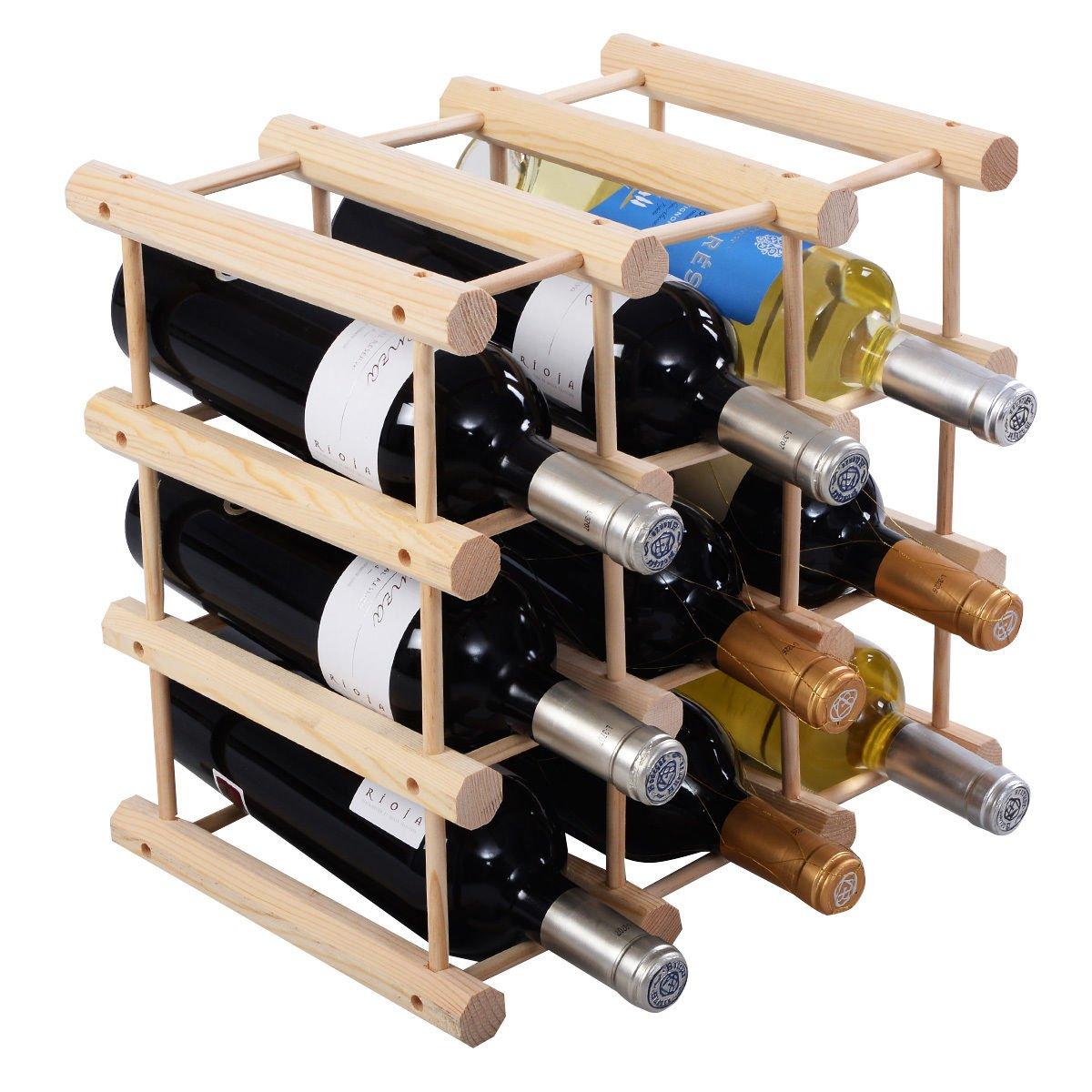 Wood Wine Rack Bottle Holder Storage Display Natural Kitchen 12 Bottle