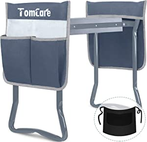 TomCare Upgraded Garden Kneeler and Seat Widen Soft Kneeling Pad Garden Tools Stools Garden Bench with 2 Large Tool Pouches Outdoor Foldable Sturdy Gardening Tools Gifts for Gardeners, Grey