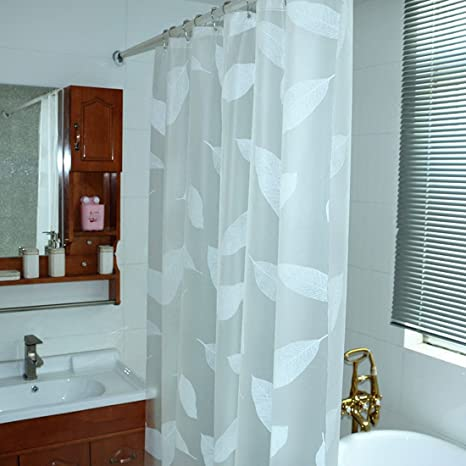 Image Unavailable Not Available For Color HIGOGOGO New White Leaf Shower Curtain Fabric Waterproof