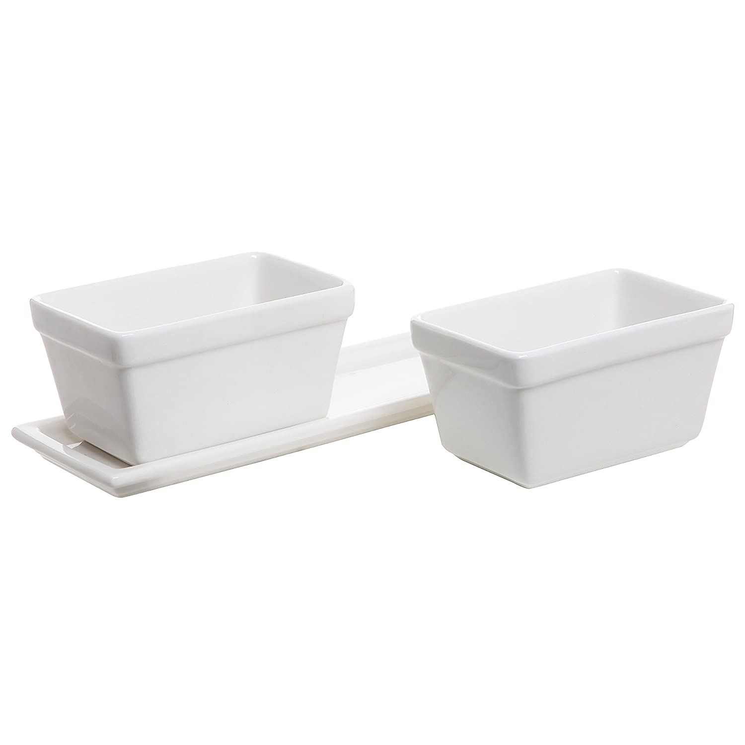amazon com small modern 2 piece white ceramic windowsill flower