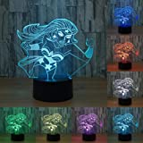 Wonder Woman 3d lampada 7Colore LED notte lampade per bambini tattile LED USB tavolo lampada a pelo Bambino Luce Notturna