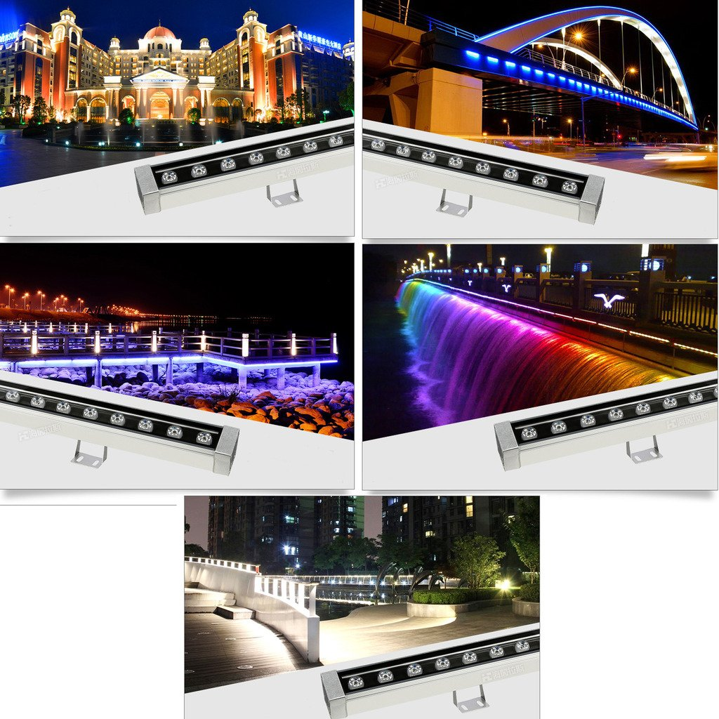 LUMINTURS 36W(39.4 inches) Outdoor LED Wall Wash Light Waterproof Flood Lamp Stainless Steel for Garden Bridge Hotel RGB Color Changing Remote Control