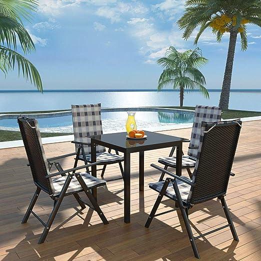 SHENGFENG Set de Comedor de jardín, 9 Piezas, Mesa: Vidrio + Aluminio + Cristal, Muebles Exterior 80 x 80 x 74 cm: Amazon.es: Jardín