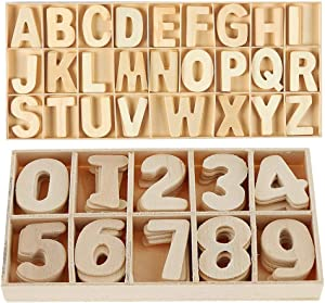 216Pcs Mini Wooden Letters and Numbers Set- Small Wooden Capital Letters Numbers with Storage Tray - Wooden Alphabet Craft Letters Smooth Natural Wooden Numbers for Crafts DIY Wedding Display Decor