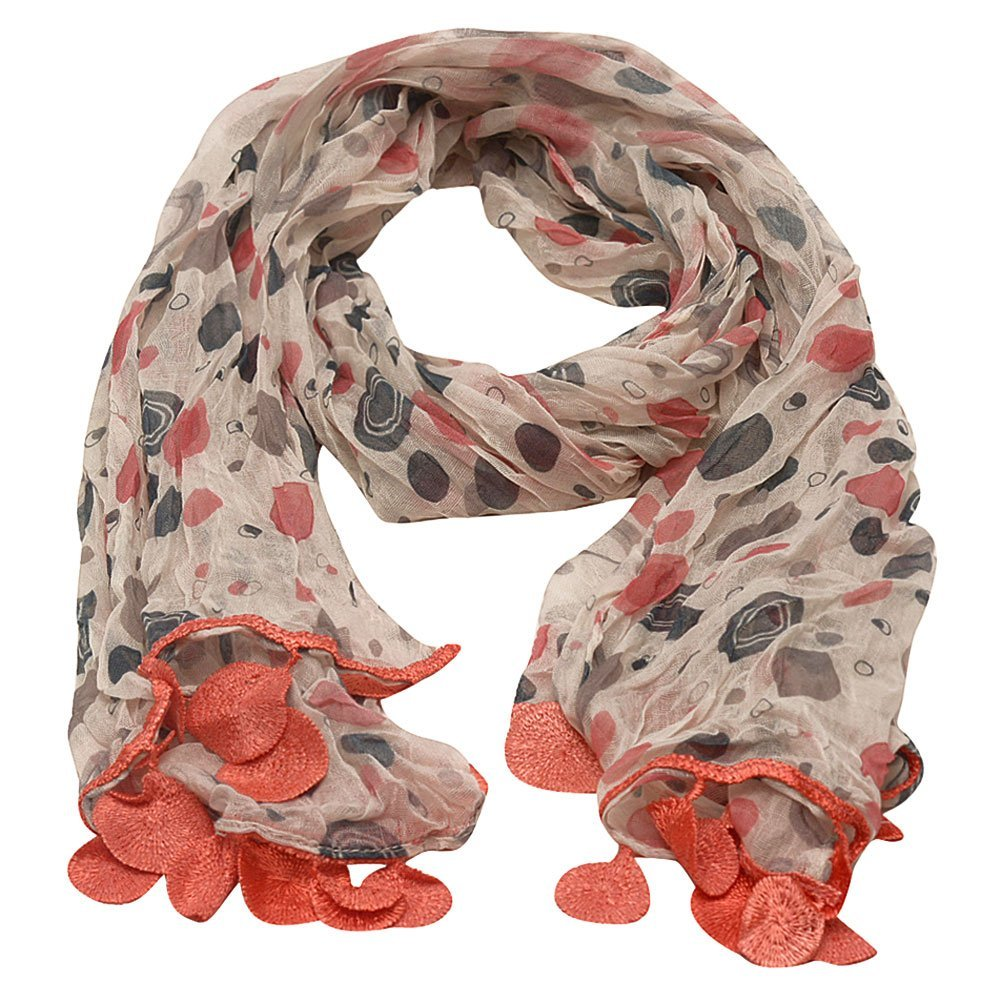 Girls Coral Grey Dotted Round Crochet Leafy Accents Scarf by Sophia's (Image #1)