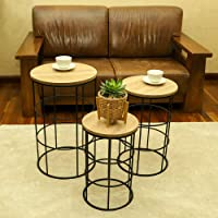 YATAI Round Wooden Nightstand Side Table with Metal frame Corner Coffee Table – Wood Center Table Night Stand Beside Bed…