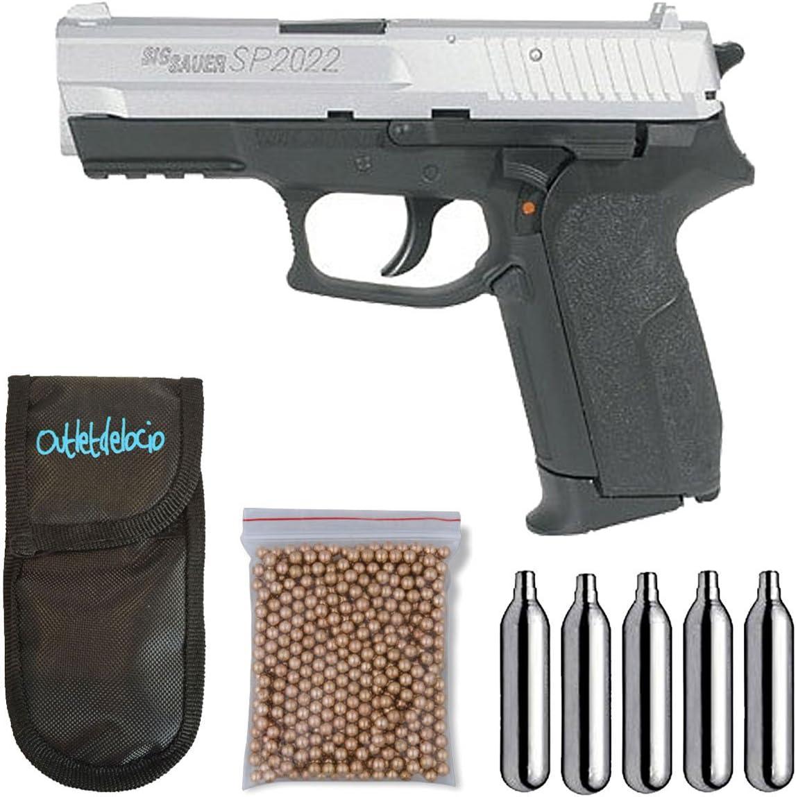 Pack pistola Perdigón Sig Sauer SP2022, corredera metalica. Calibre 4,5mm BBS. + Funda Portabombonas + Balines + Bombonas co2