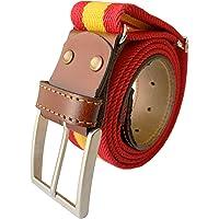 LEGADO Cinturon hombre y pulsera bandera España, cinturon elastico con cuero marron, piel de Ubrique como nuestras…