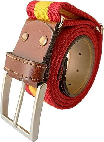 LEGADO Cinturon hombre y pulsera bandera España, cinturon elastico con cuero marron, piel de Ubrique como nuestras carteras y accesorios. (Bandera de España): Amazon.es: Ropa y accesorios