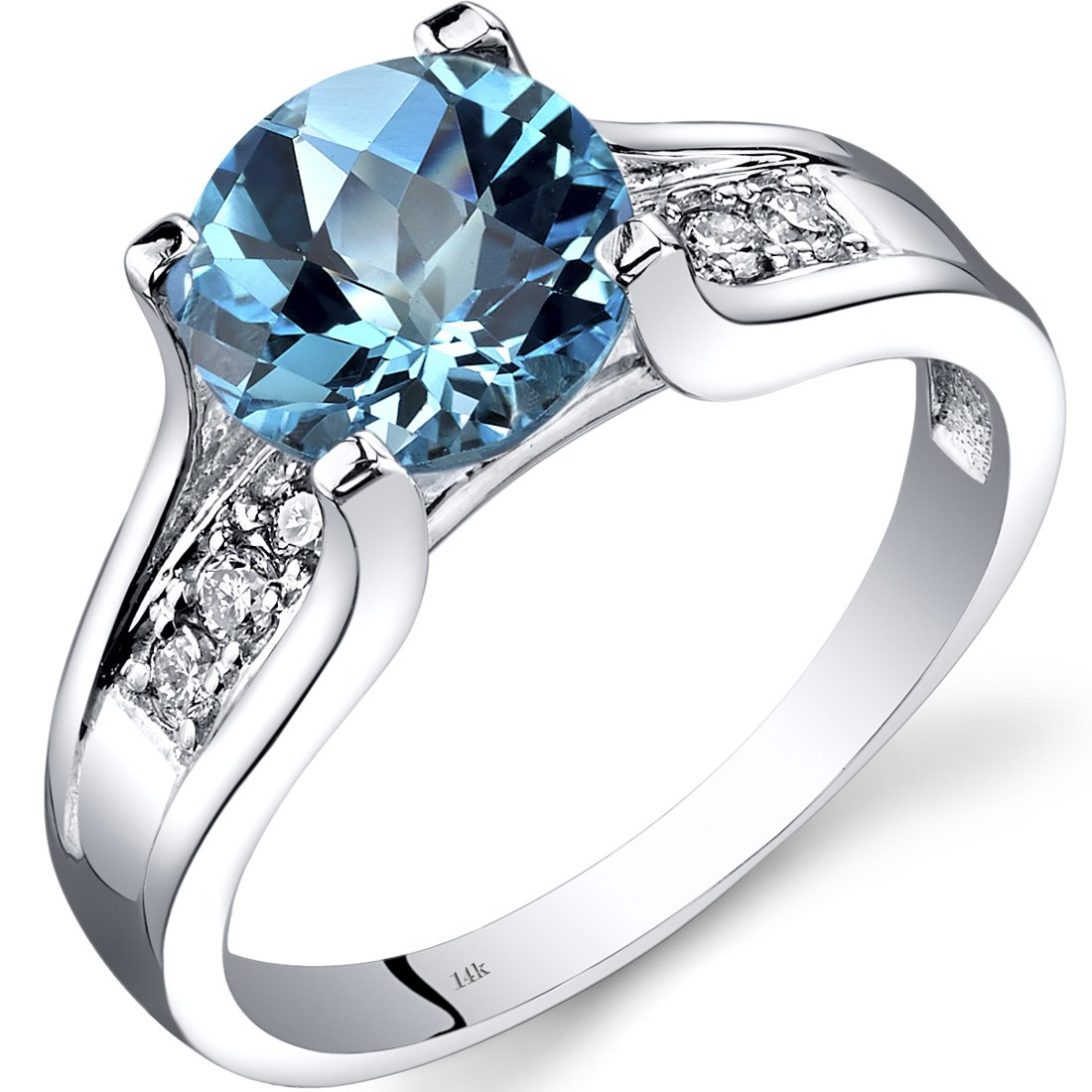 14K White Gold Swiss Blue Topaz Diamond Cocktail Ring 2.25 Carats Size 6