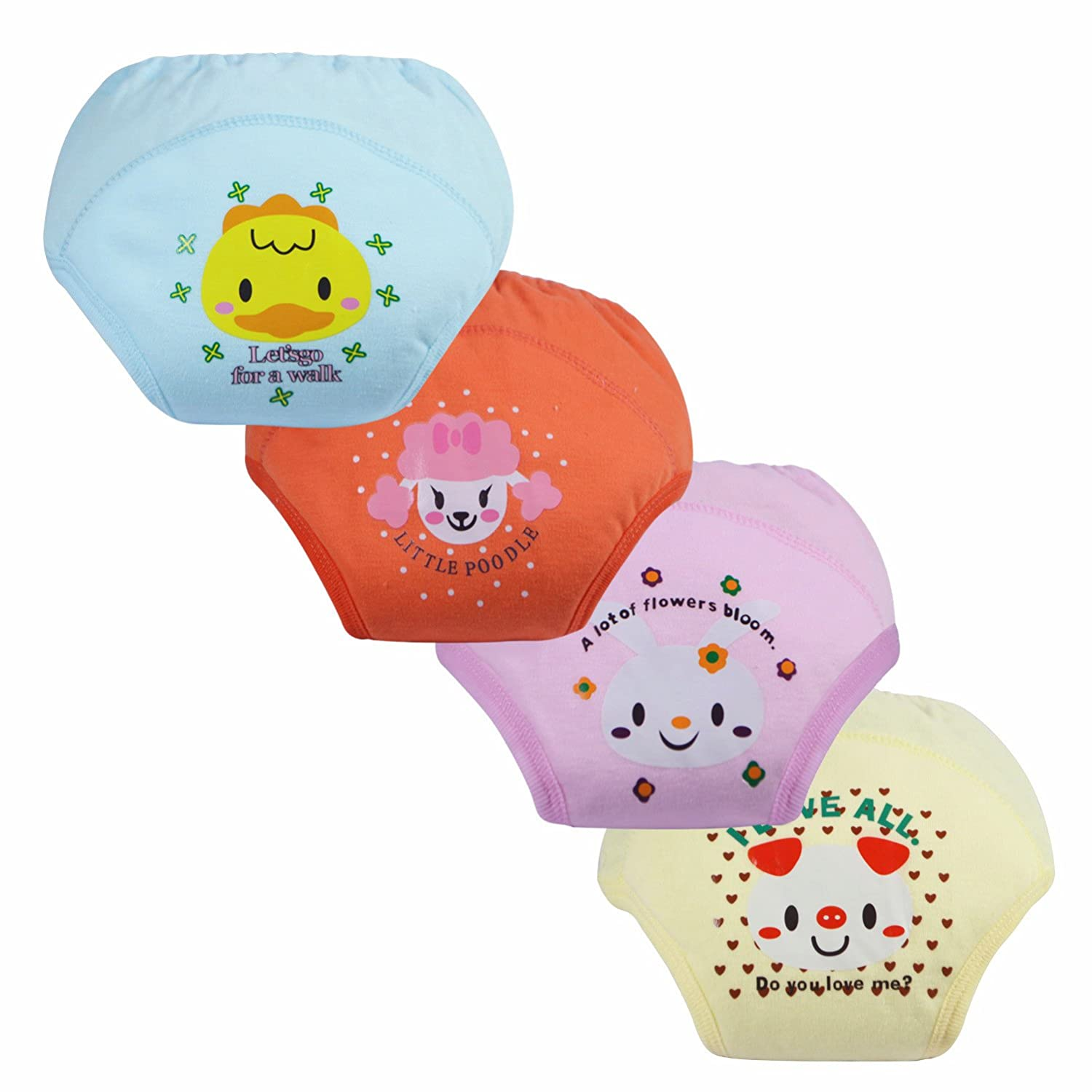 LOSORN ZPY Pack of 4 Baby Toddler Girls Cute 4 Layers Potty Training Pants reusable