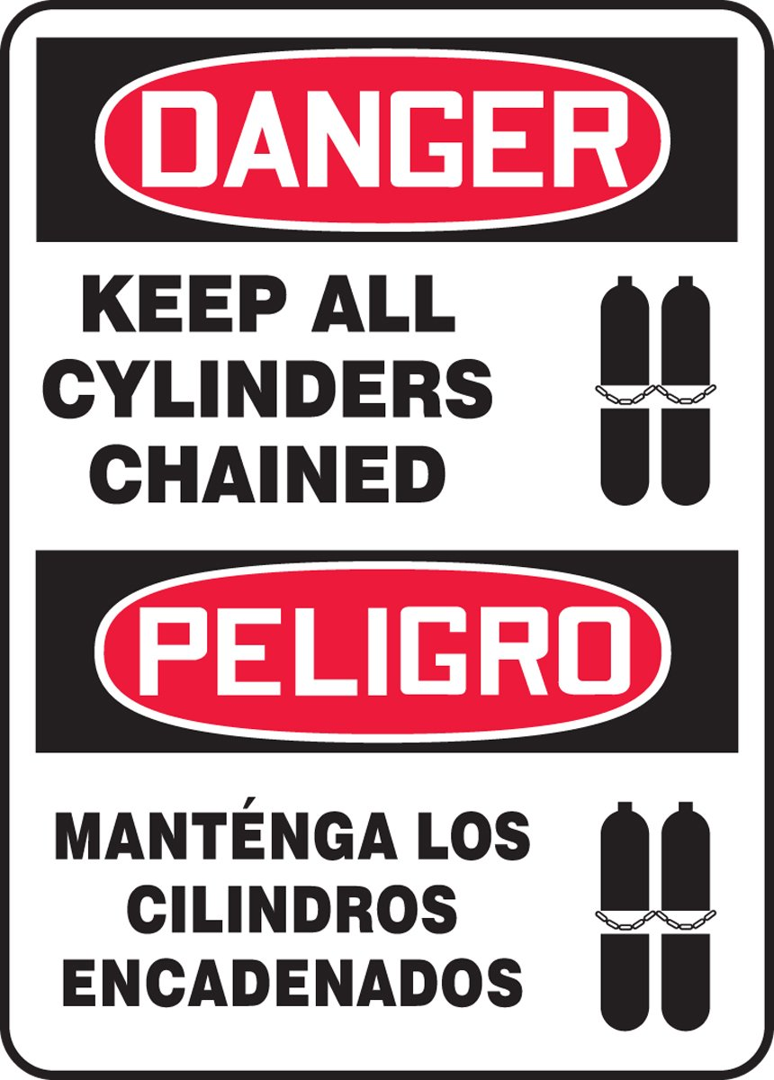 LegendDanger Keep All CYLINDERS Chained Red//Black on White 14 Length x 10 Width Accuform SBMCPG027VA Aluminum Sign