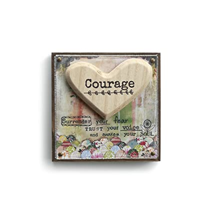 5d720b99773c Amazon.com  DEMDACO Courage Heart Floral Multicolored 6 x 6 Fir Wood ...