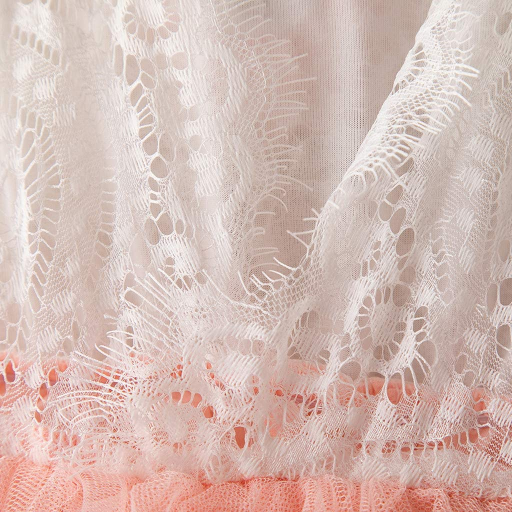 Hatoys Lace Ruffles Patchwork Tulle Dress Prinsess Toddler Baby Kids Girls Dresses