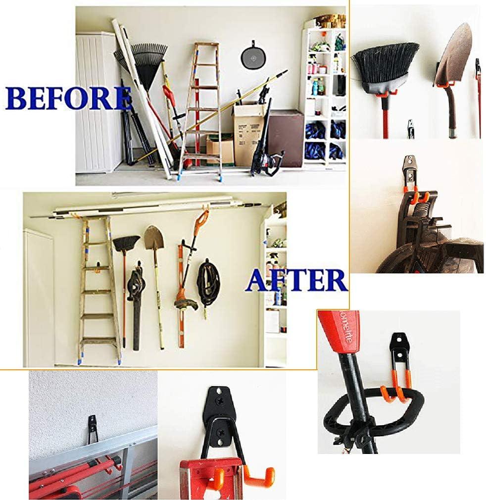 Utility Doppelhaken Supermarkt Werkzeuge Balkon Organisation Garage Aufbewahrung Lager Stahl Tiazza 4 robuste Wandhaken perfekt f/ür Garten