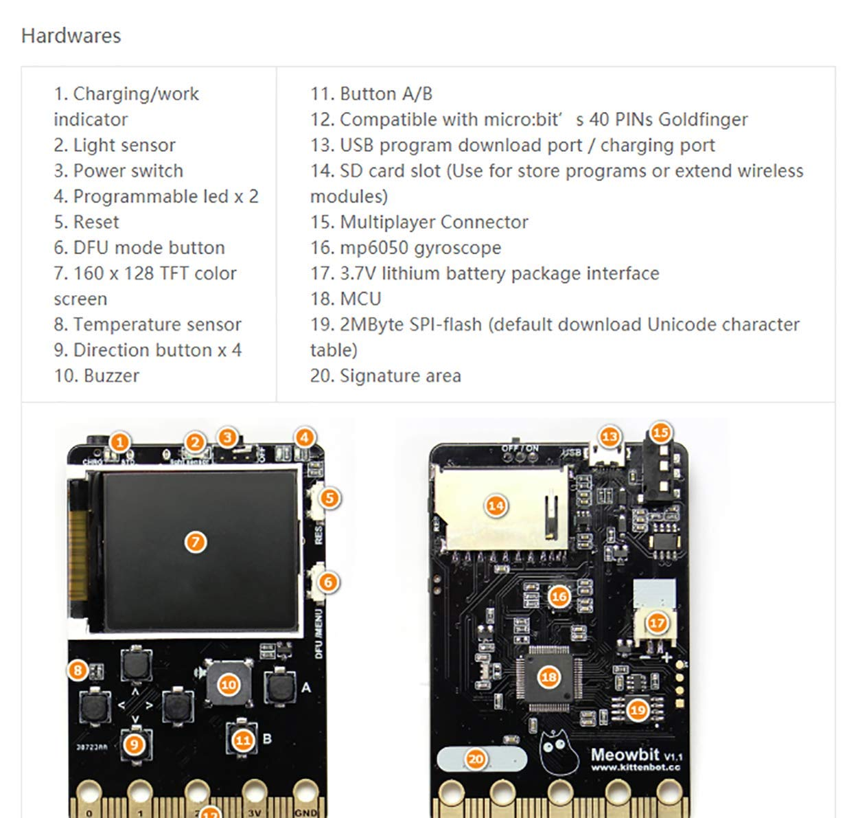 Kittenbot Meowbit Card-Sized Retro Game Computer Codable Console for Microsoft Makecode Arcade and Python Video Game Console Compatible with Micro:bit Expansion Board for Robot Building(Orange) by KittenBot (Image #7)