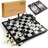 GiBot 3 en 1 Jeu de plateau d'échecs, 31.5CM x 31.5CM Échiquier Magnétique avec échecs, Dames, Backgammon pour les enfants et adultes, Pliable et Portable Plateau de jeu pour voyage, noir et blanc