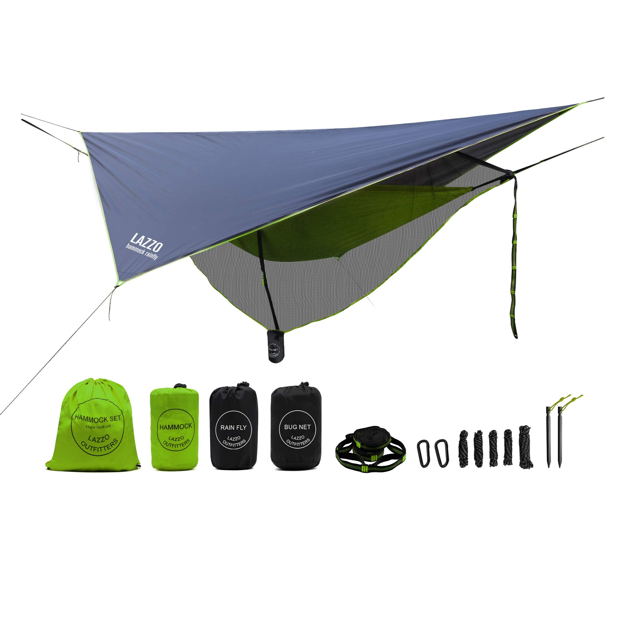LAZZO Camping Hammock Set All-Inclusive,Single Hammock,Bug Net,Tarp,Suspension,Guyline,Stakes and Backpack,Perfect for Backpacking,Camping,Hiking & Yard (Green, 9.2) by LAZZO