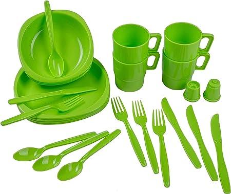 styleshop777 Juego de Cubiertos, Platos y Vasos de plástico ...
