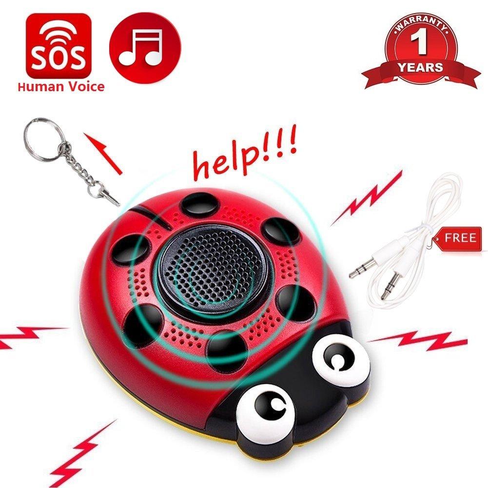 Personal Alarm Keychain 130db Self Defense Human Voice SOS Emergency Security Alarm USB Rechargeable Built-in Speaker Strobe Light and Flashlight with Wrist Strap for Elder Kids Women Adventurer Night