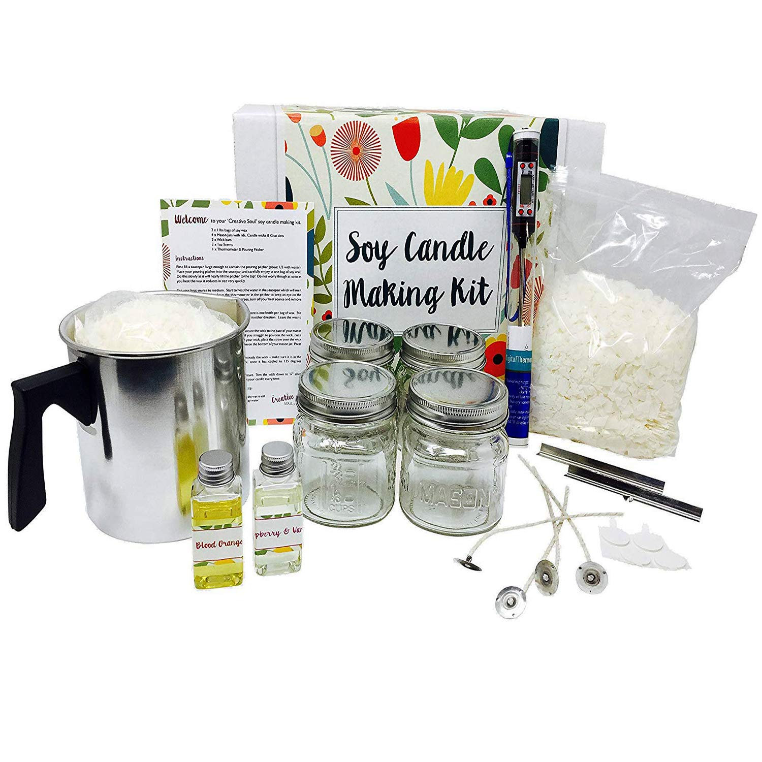 Complete Soy Candle Making Kit - Made with Eco Friendly Soy Wax - Makes 4 x 8 oz Scented Candles in Glass Mason Jars The Creative Soul Co