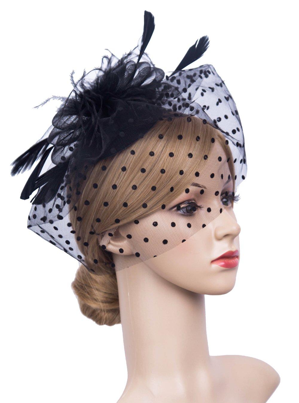 K.CLASSIC Fascinators Hat Vintage Mesh Net Felt Pillbox Flower Women Fascinator Hat Hair Clip (Black)