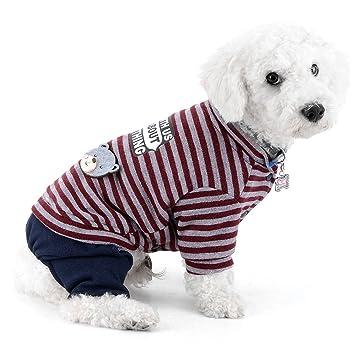Ranphy Pequeño Perro Pequeño Mono Jumpsuit Pantalones de mezclilla Rayas Ropa Chihuahua Ropa Perro pijama Cachorro