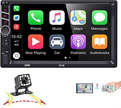 Music,Video Digital Multimedia Player Compatible Apple CarPlay//Android Auto//GPS//Backup Camera,HD Touch Screen Car Radio Supports Mirror Link,AM FM Hieha 7 Double Din Car Stereo with Bluetooth