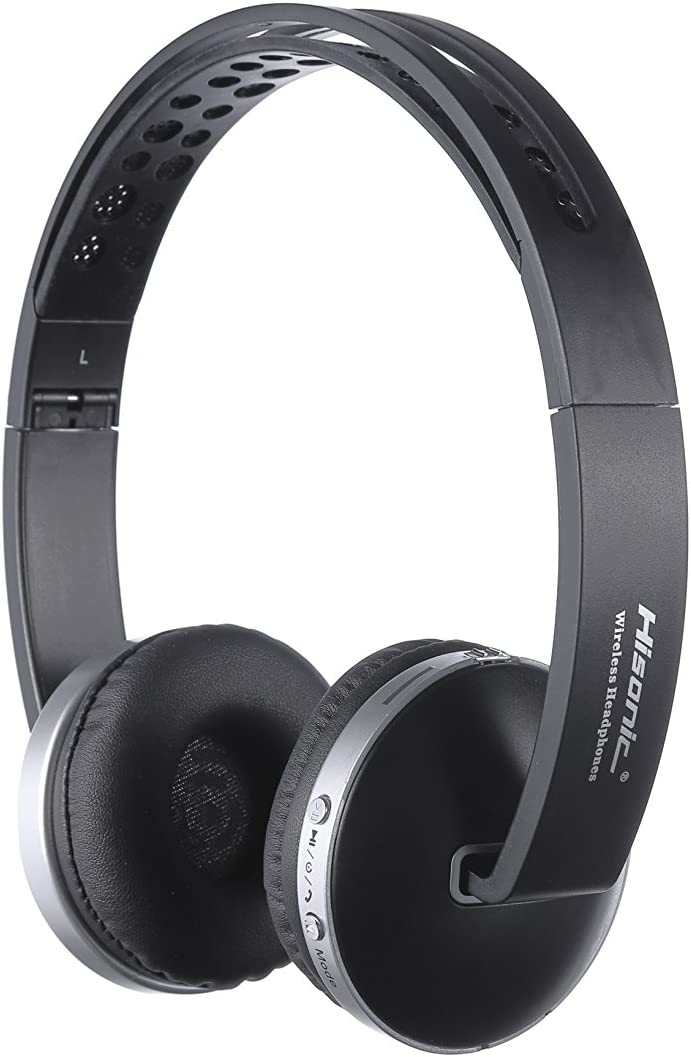Auriculares Bluetooth Inalámbrico, Hisonic Casco Bluetooth con Tarjeta TF, Micrófono Incorporado, Auriculares Bluetooth de Diadema Plegable para TV, PC, Tablet, Móvil y Otros Dispositivos(Negro)