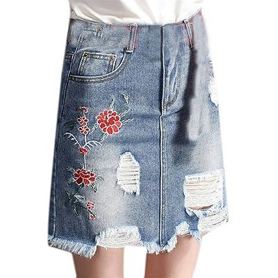 Qiangjinjiu Womens High Waist Elasticity Slim Fitted Pencil Ripped Hole Jeans