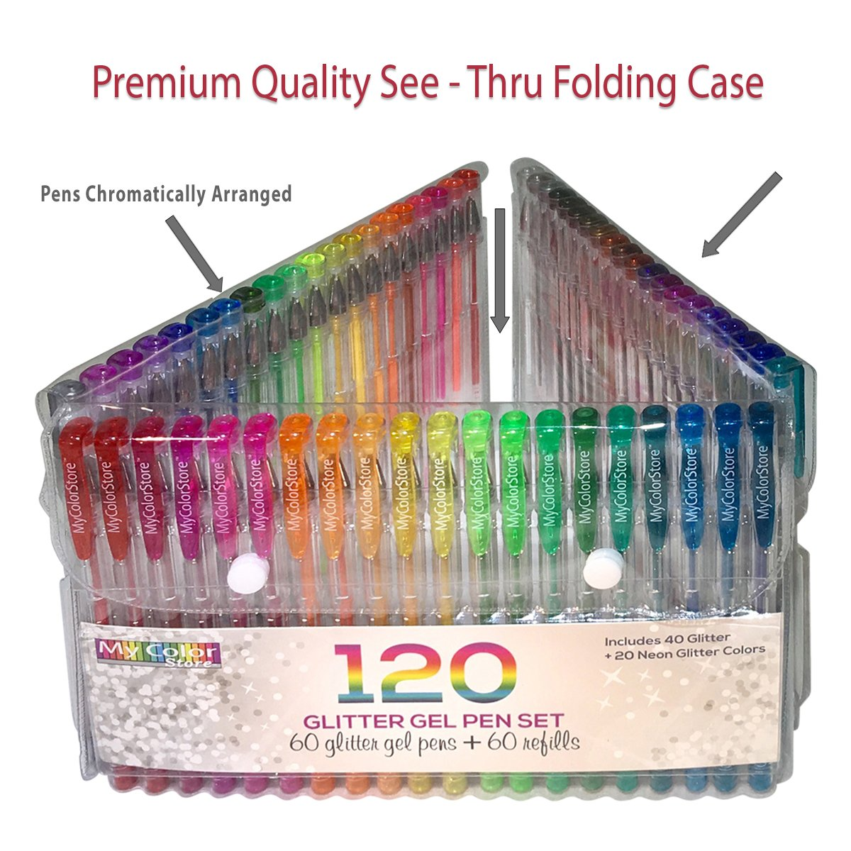 My Color Store 120 Glitter Gel Pens Set, 60 Glitter Pens + 60 Refills, Fold-able Case + Gift Box by Overseas Publishers Representatives (Image #3)
