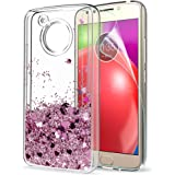 Moto E4 Case (USA Verison) (Not Fit E4 Plus) with HD Screen Protector for Girls,LeYi Shiny Glitter Liquid Quicksand Clear TPU Protective Phone Case for Motorola Moto E (4th Generation) ZX Rose Gold