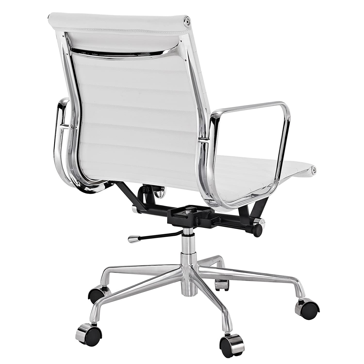 amazoncom modway ribbed mid back office chair in white genuine leather kitchen u0026 dining