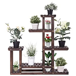 GOFLAME Plant Stand Rack Indoor & Outdoor, Wood Plant Display Rack with Multi Shelves, Flower Pots Organizer Holder, Multifunctional Storage Rack for Patio Garden Yard Bathroom (Walnut)