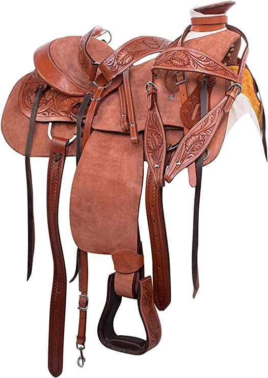"""Manaal Enterprises Size 14/"""" 15/"""" 16/"""" 17/"""" 18/"""" Wade Tree A Fork Premium Western Leather Roping Ranch Work Horse Saddle TACK Headstall Breastplate"""