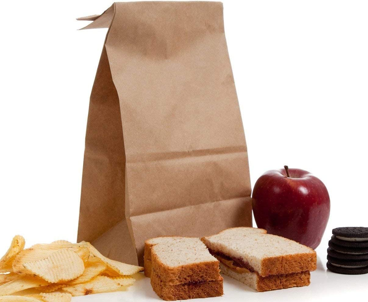 BagDream Brown Paper Lunch Bags Bread Bags 12lb 7x4.5x13.75 Inches 100Pcs Kraft Paper Bags Bulk, Paper Snack Bags, 100% Recycled Kraft Lunch Bags