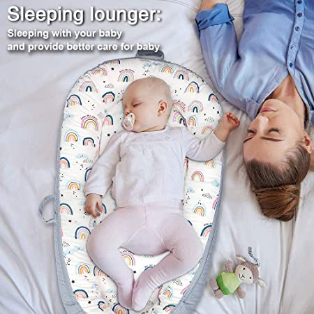 Arkmiido Baby Lounger Baby Nest for Co Sleeping Baby Bassinet Soft Breathable Newborn Lounger Perfect for Newborn Gift Co-Sleeping and Traveling Soft Cotton from 0-18 Months
